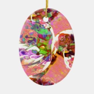 pastel,lilies,rainbows,love,romance,bouquet,buds,f ceramic oval decoration