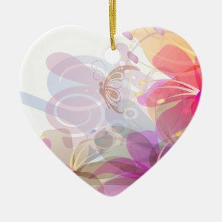 Pastel Lilies Wedding Ceramic Heart Decoration