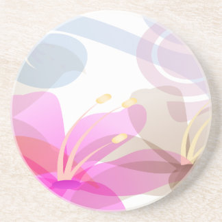 Pastel Lilies Wedding Beverage Coaster