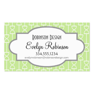 Pastel Lime Green Hourglass Stripes Pattern Double-Sided Standard Business Cards (Pack Of 100)