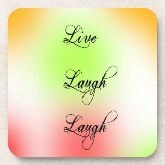 Pastel Live, Laugh, Love Drink Coasters