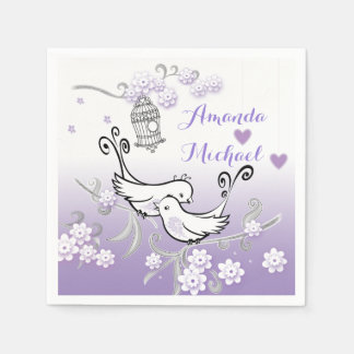 Pastel love birds wedding custom serviette disposable serviette