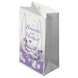Pastel love birds wedding glossy gift bag