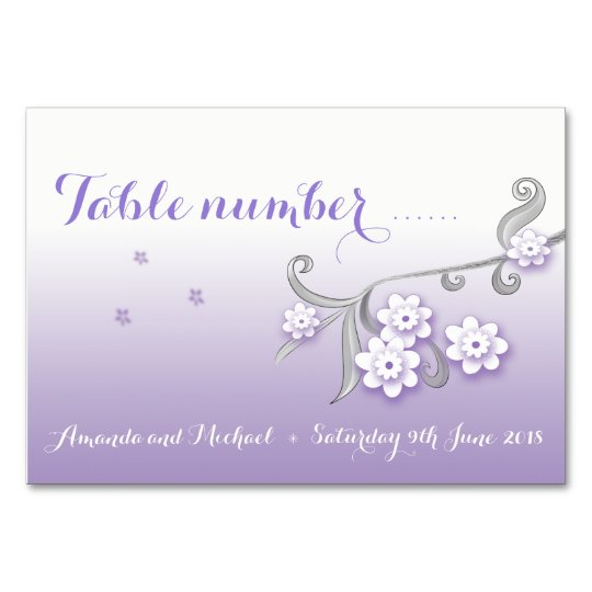 Pastel love birds wedding table number card
