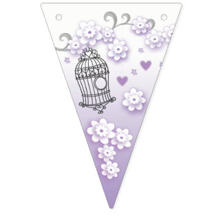 Pastel love birds wedding triangle bunting flags