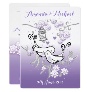 Pastel lovebirds custom large wedding invite