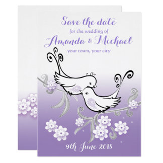 Pastel lovebirds wedding Save the Date postcard