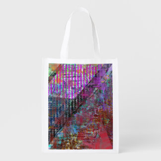 Pastel lozenges abstract reusable grocery bag