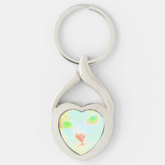 Pastel Maine Coon Cat Image Metal Heart Keychain