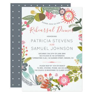 Pastel meadow wildflowers wreath rehearsal dinner card