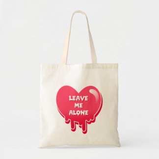 pastel melty heart leave me alone feminism budget tote bag