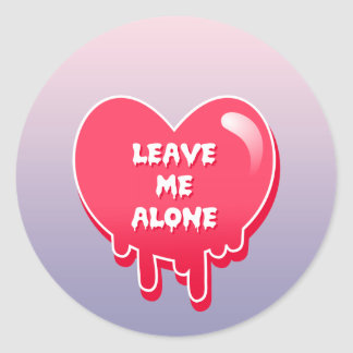 pastel melty heart leave me alone feminism classic round sticker