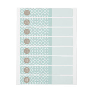 Pastel Mint and Tan Quatrefoil Pattern Monogram Wraparound Address Label
