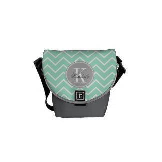 Pastel Mint Chevron with Gray Monogram Messenger Bag