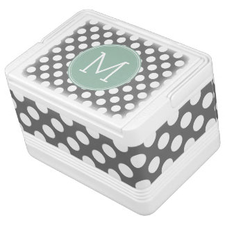 Pastel Mint & Gray Polka Dots with Custom Monogram Igloo Cool Box