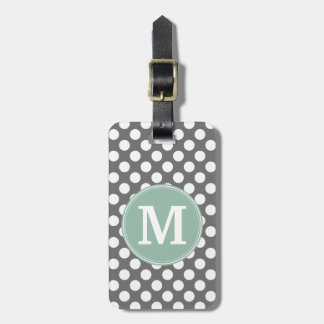 Pastel Mint & Gray Polka Dots with Custom Monogram Luggage Tag