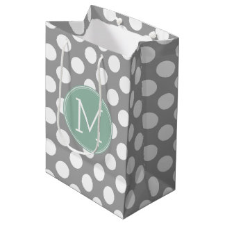 Pastel Mint & Gray Polka Dots with Custom Monogram Medium Gift Bag