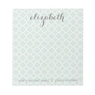 Pastel Mint & Gray Quatrefoil Pattern Custom Name Notepad