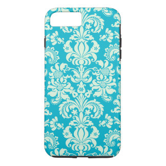 Pastel Mint Green And Turquoise Floral Damasks iPhone 7 Plus Case