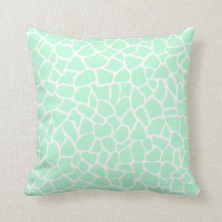 Pastel Mint Green Animal Print Giraffe Pattern Cushion
