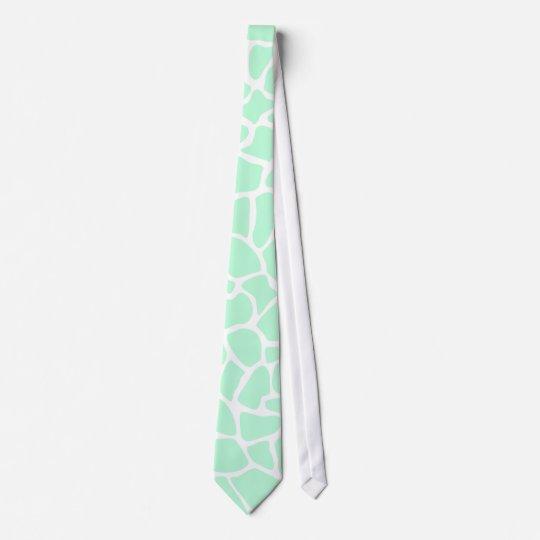 Pastel Mint Green Animal Print Giraffe Pattern Tie