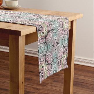 Pastel Mint Green Coral Pink Hip Ornate Art Motif Medium Table Runner