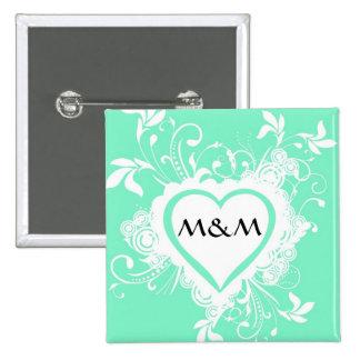 Pastel mint green monogrammed heart 15 cm square badge