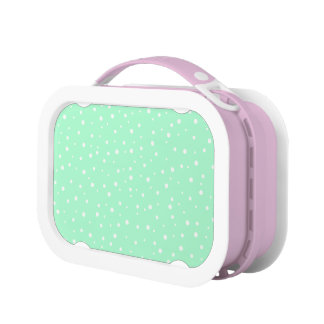 Pastel Mint Green with White Dots Pattern Lunch Box