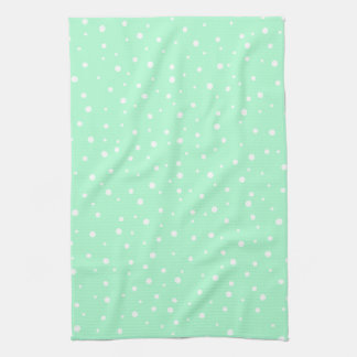 Pastel Mint Green with White Dots Pattern Tea Towel