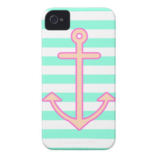 Pastel Mint Nautical Anchor iPhone 4 Case-Mate Case