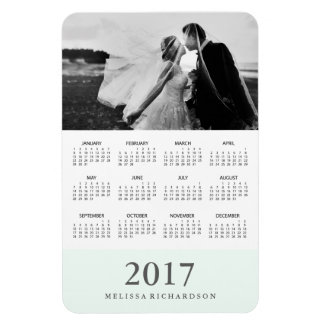 Pastel Mint Stripe | Elegant 2017 Photo Calendar Rectangular Photo Magnet