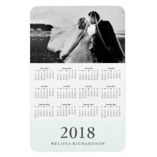 Pastel Mint Stripe   Elegant 2018 Photo Calendar Magnet