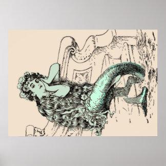 Pastel Mint Vintage Mermaid Print