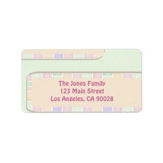 pastel modern tile border address label