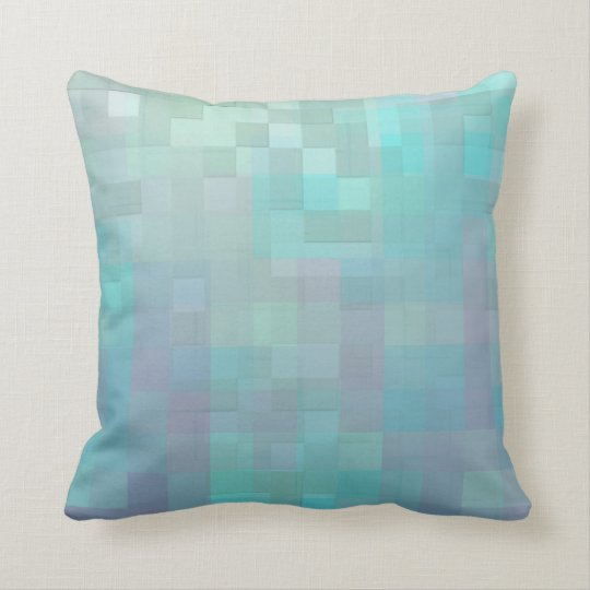 Pastel Mosaic Abstract Art Teal Turquoise Cushion
