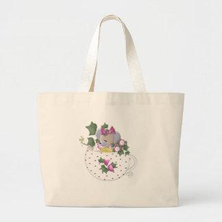 Pastel Mouse in Ivy Teacup Bag