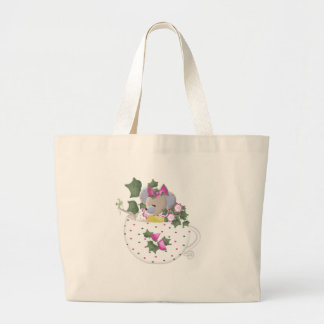 Pastel Mouse in Ivy Teacup Jumbo Tote Bag