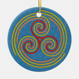 Pastel Multi Spiral on Sky Blue & Snowflakes Christmas Ornament