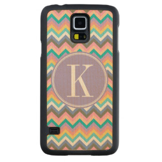 Pastel Multicolor Chevron with Lilac Monogram Carved Maple Galaxy S5 Case