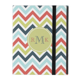 Pastel Multicolor l Monogram Retro Chevron Pattern Covers For iPad