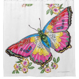 PASTEL MULTICOLORED BUTTERFLY PERSONALIZABLE SHOWER CURTAIN