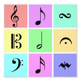 pastel music symbols 13 cm x 13 cm square invitation card