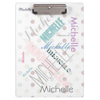 Pastel Name Polka Dot Clipboard