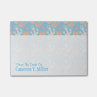 Pastel Nautical Pattern   Add Your Name Post-it Notes