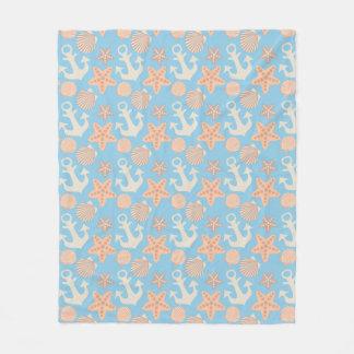 Pastel Nautical Pattern Fleece Blanket