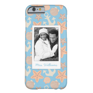 Pastel Nautical Pattern | Your Photo & Name Barely There iPhone 6 Case