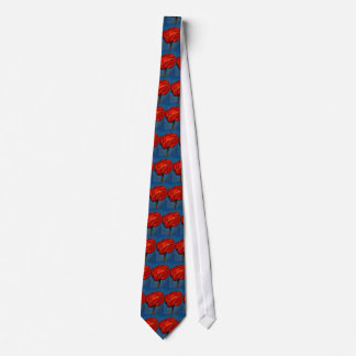 Pastel of Bright Red Poppy on Blue Background Tie