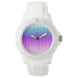 Pastel Ombre Chevron Pattern Watch