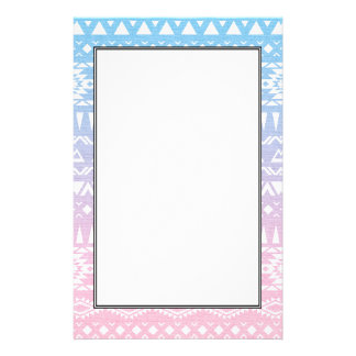 Pastel Ombre Tribal Pattern Aztec inspired Design Stationery