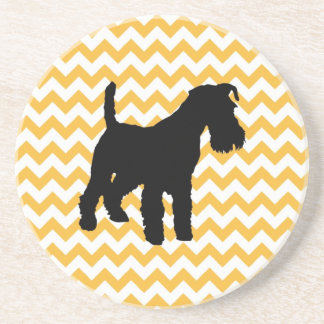 Pastel Orange Chevron With Schnauzer Silhouette Coaster